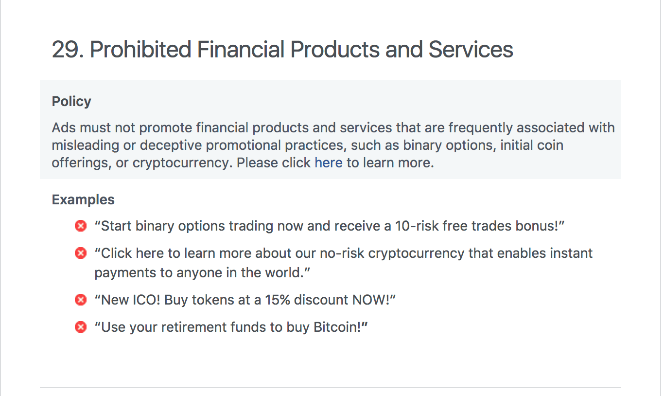 facebook bans cryptocurrency- new ad policy