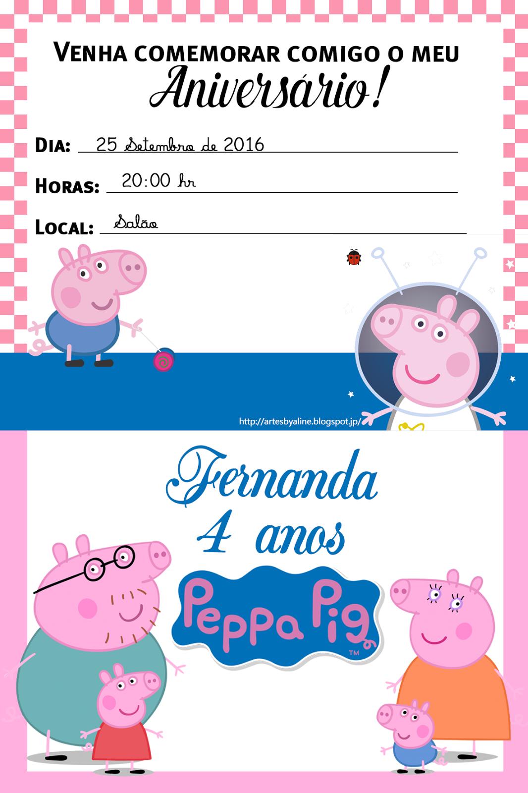 Artes By Aline Convite Para Imprimir Tema Peppa Pig