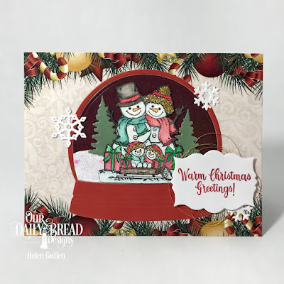 Our Daily Bread Designs Stamp Set: Snowman Family, Custom Dies: Snow Globe, Trees & Deer, Snow Crystals, Mini Label, Paper Collection: Christmas 2017