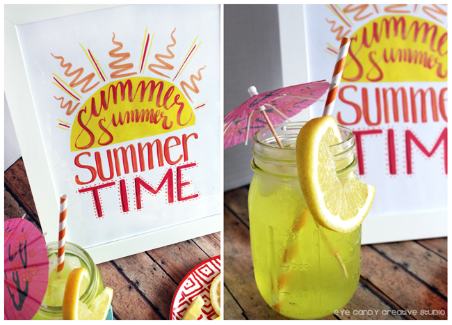lemonade, summer time, summer art, hand lettering, brush markers