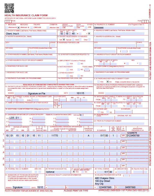 Audiology Claim Form Example  Audiology Billing Guide Cpt Icd Code