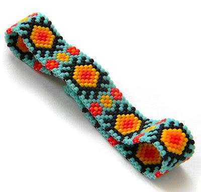 купить Яркий узкий браслет из бисера - бирюзовый летний браслет