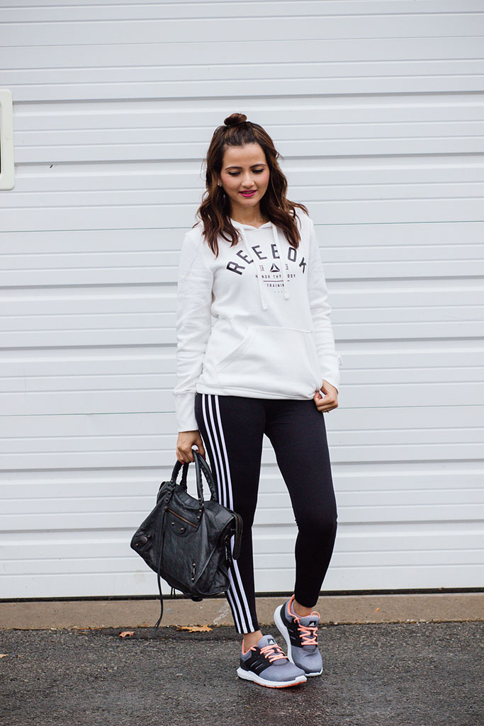White Reebok Sweatshirt Black Adidas Leggings Adidas Solyx Sneakers Blogger Athletic Athleisure Outfit