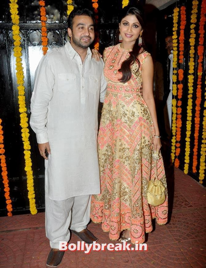 Raj Kundra and Shilpa Shetty, Ekta Kapoor's Diwali bash 2013