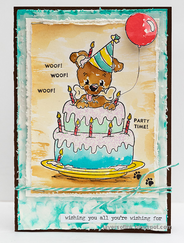 Layers of ink - Birthday Cake Card Tutorial by Anna-Karin Evaldsson. With Simon Says Stamp Bone-a-fide set.