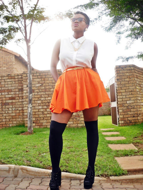 42 Back to School Outfits To Start The Year Off Right! thrifted thrift store black girl magic button up sleeveless shirt skater skirt thigh high socks