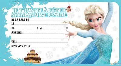 Carte d'invitation Elsa Reine des neiges
