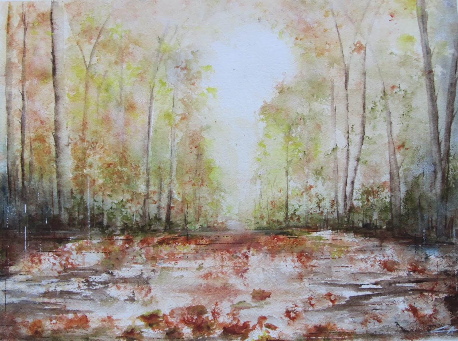 forêt automne aquarelle arbres