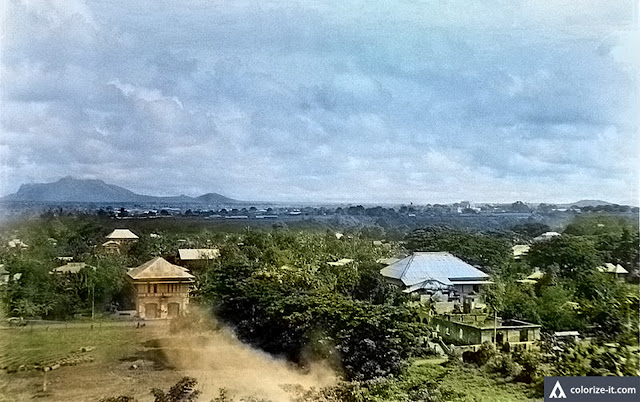 Picture of Batangas town, circa 1945 courtesy of John Tewell.  Colorized thanks to Algorithmia.