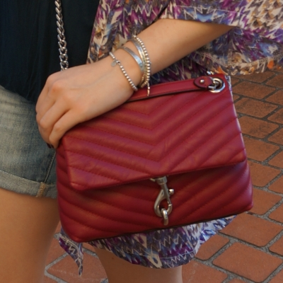 denim shorts, Rebecca Minkoff Edie small crossbody bag in magenta | away from the blue