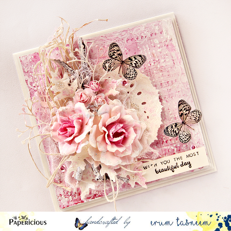 The roses are handmade. The paper, sequins and jute twine by Papericious. Stamp by Altenew