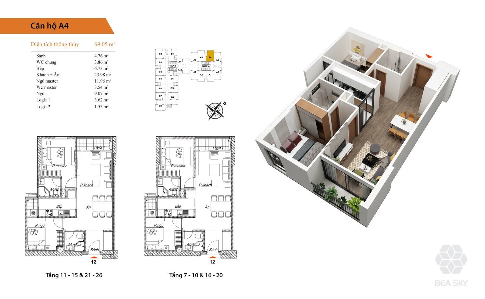 Thiết kế căn A4 chung cư Bea Sky Nguyễn xiển