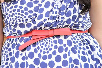 Kate Spade Orange Bow Belt and Polka Dot Dress