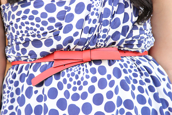 Kate Spade Orange Bow Belt and Polka Dot Dress