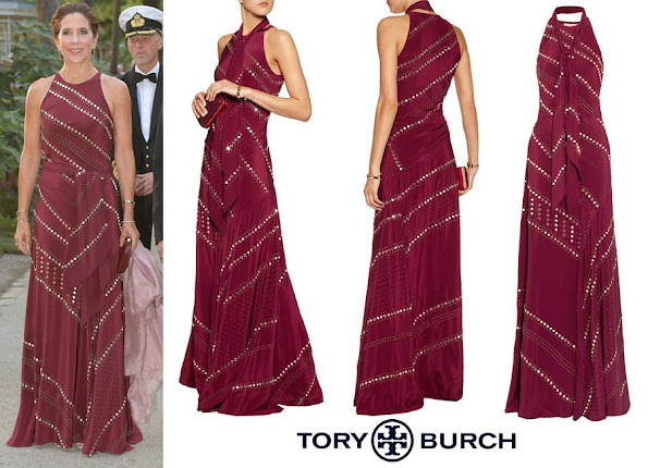 Crown Princess Mary wore Tory Burch Studded Silk-Chiffon Maxi Dress in Plum