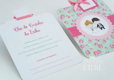convite cha cozinha floral verde rosa