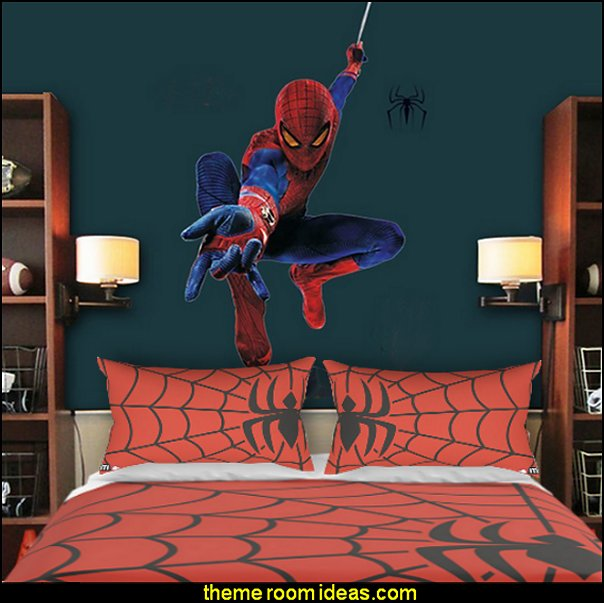 Spider Spider-man  spiderman bedroom decorating ideas - spiderman room decor - Spiderman rooms - superhero bedrooms - Spider web curtains  - spiderweb bedding - Marvel Heroes wall murals -  Avengers wallpaper murals -  superhero theme bedrooms