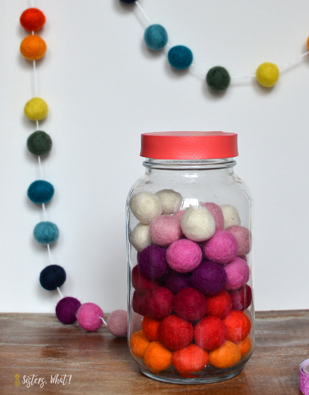 Colorful faux leather mason jar lid hack DIY tutorial