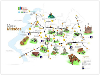 Mapa com os Sete Povos das Missões, no Rio Grande do Sul.