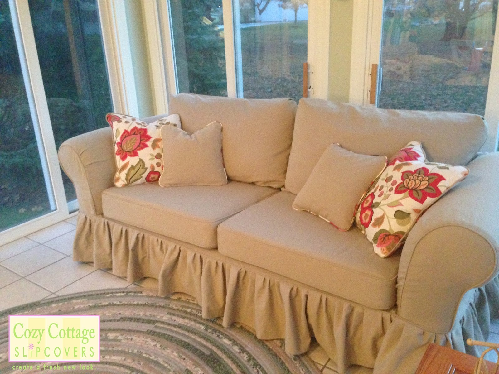 Ruffled Sofa Slipcover Cozy Cottage Slipcovers: Classic Cotton and Ruffles