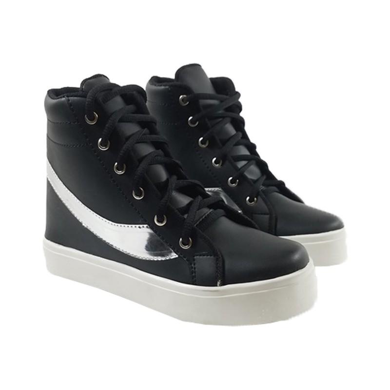 MEGUMI Sneakers Hidden Wedges Cewek Korea Casual / Sneaker Wanita Hitam Slash Silver5