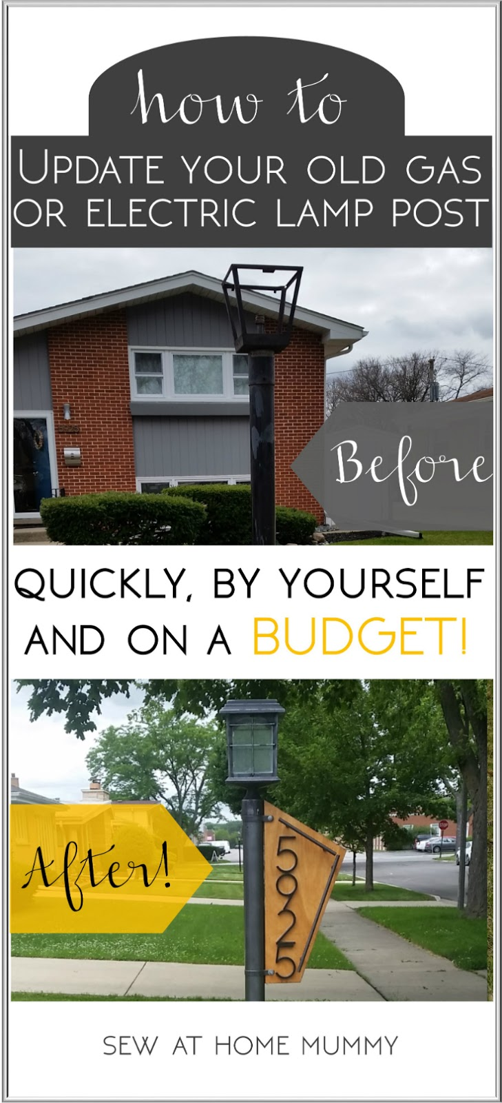 How to quickly and easily update your yard lamp post - by yourself! Easy solar conversion tutorial, step by step, including links to supplies and lighting ideas!