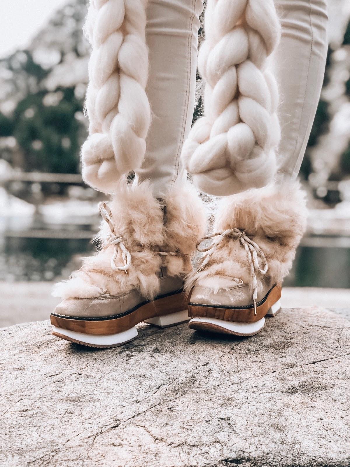 botas estilo alpino con pelo