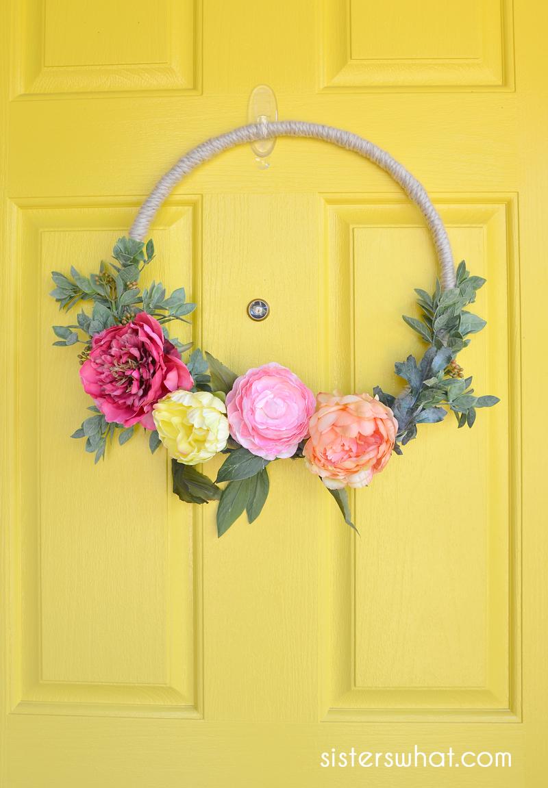 diy modern flower wreath tutorial