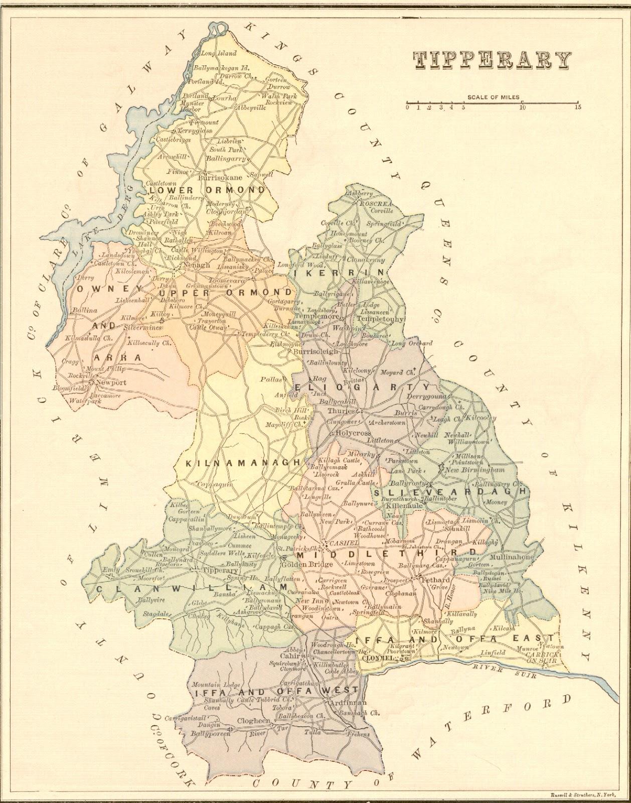 County Tipperary Ireland Map.Tobin Family History Stephen Tobin Ch 2 Tobins Driscolls In
