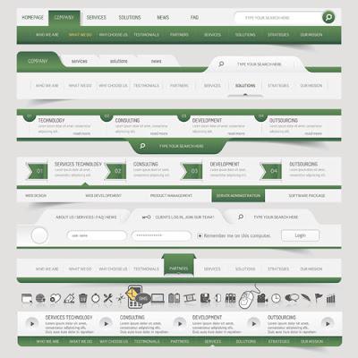 8 vectores menus pagina web