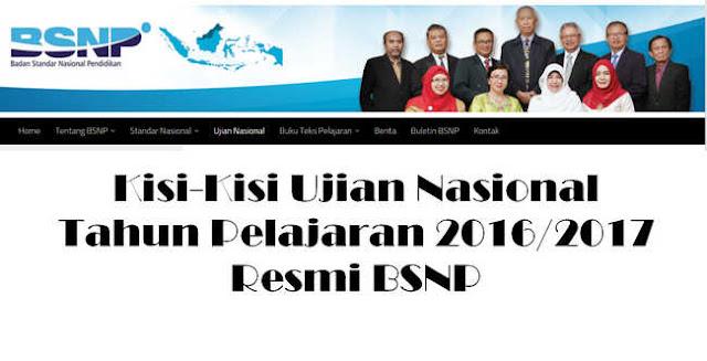 Kisi-Kisi Ujian Nasional 2016/2017 BSNP