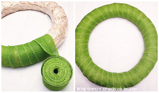green burlap wreath, ribbon for wreath, fall wreath, how to make a fall wreath