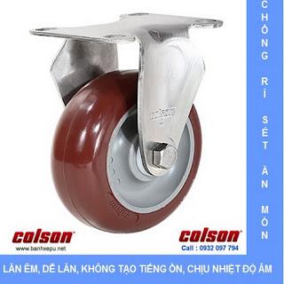 Bánh xe inox 304 vật liệu bánh xe nhựa PU | 2-5408-944, bánh xe PU đỏ