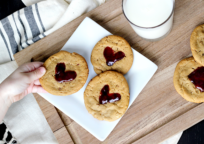 Sunbutter and Jelly Heart Print Cookies