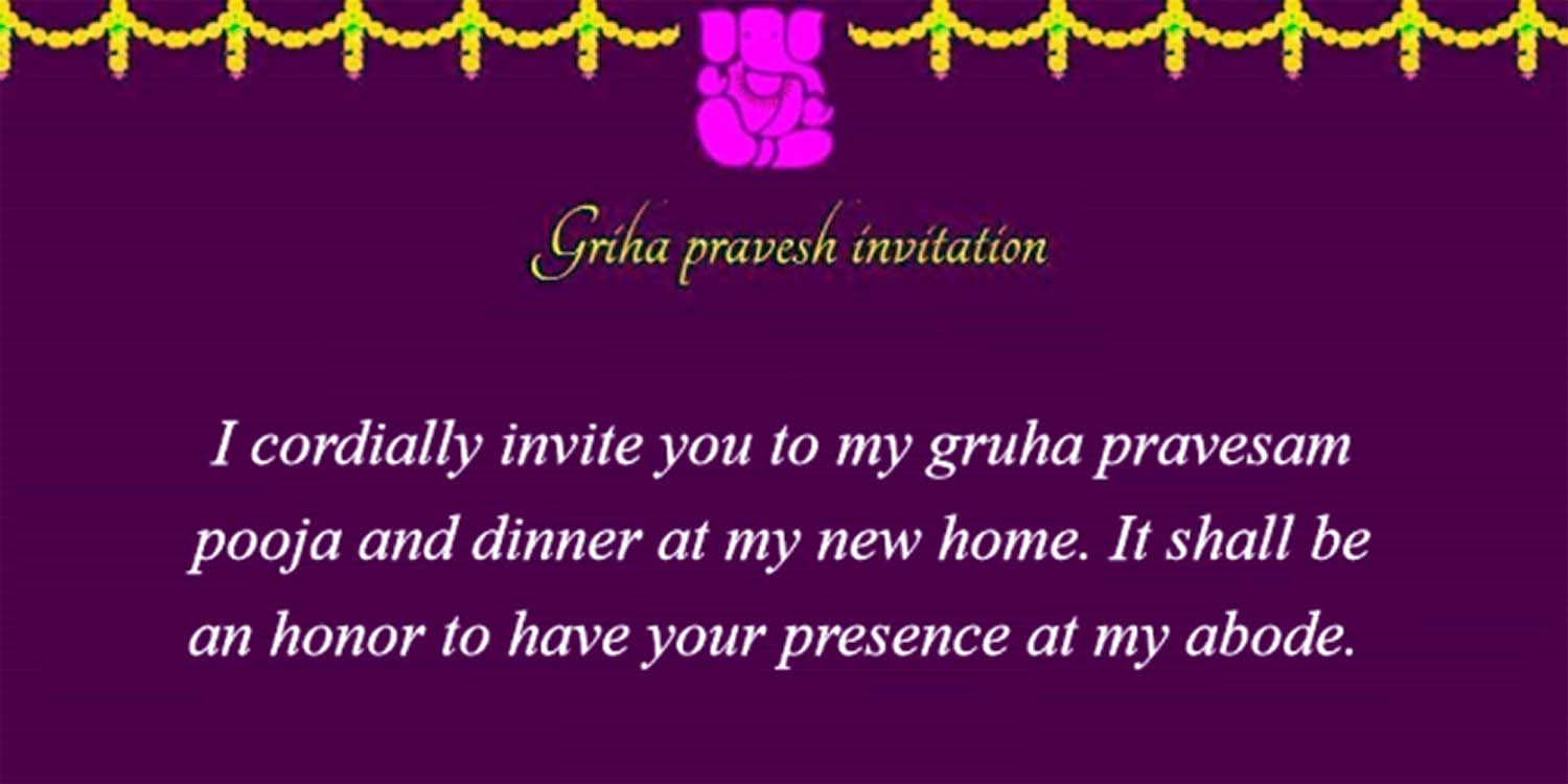 Griha pravesh invitation indian house warming ceremony invitation gruhapravesam invitation cards stopboris Image collections