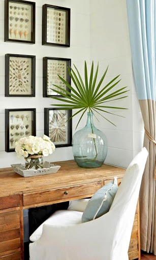 Tropical Palm Leaf Decor Palm Frond in Vase Coastal Tabletop Decorating Idea