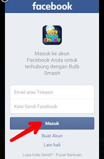 Masukan data facebook untuk daftar Bulb Smash