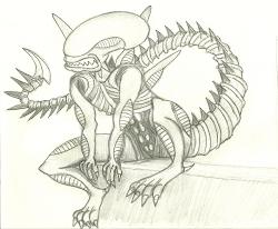 sketch xenomorph alien rohrer mighty sketches paintingvalley sk