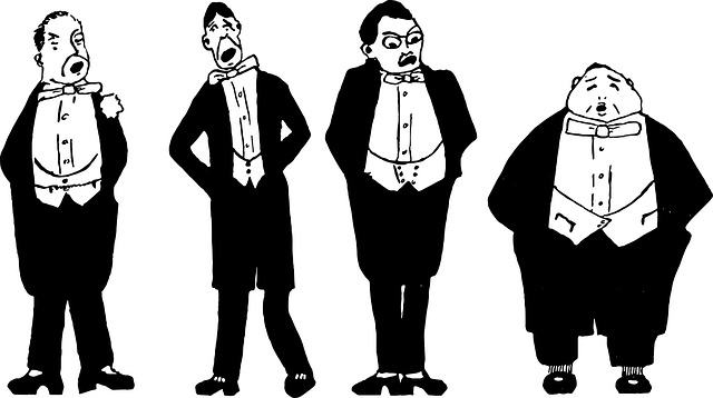 black and white drawing of white men in tuxedos
