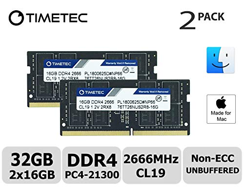 Timetec Hynix IC Apple 32GB Kit (2x16GB) DDR4 2666MHz PC4-21300 SODIMM  Memory Upgrade for Mac Mini