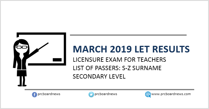 PRC releases March 2019 LET board exam results: S-Z Passers Secondary
