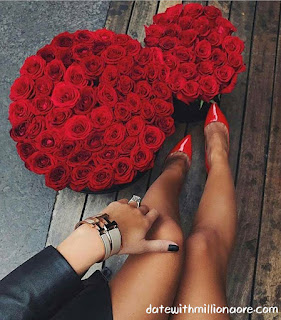 The red heels match the red roses, and the luxury girl