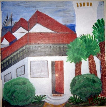 The Club at Ocean; acrylic sketch by Gloria Poole, 2004