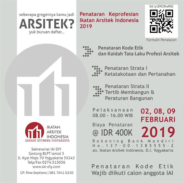 [PENATARAN] PENATARAN KEPROFESIAN IKATAN ARSITEK INDONESIA 2019 IAI-DIY