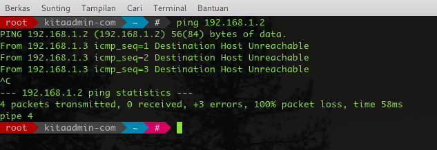 ping destination host unreacheble