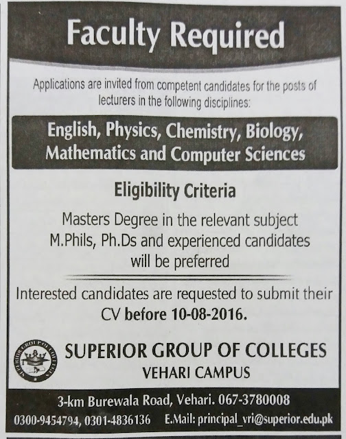 Lecturers Jobs in Pakistan Superior Group of Colleges Jobs
