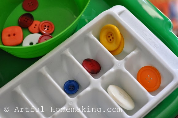 Fine Motor Coordination: Keeping Little Ones Hands Busy. Sorting more buttons