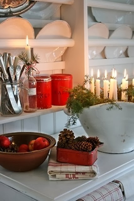Wall Colour Inspiration: Shabby In Love: Christmas Kitchen Decor Ideas