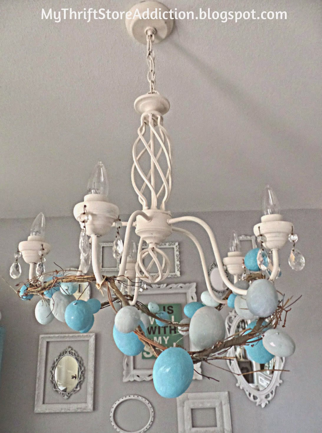 Upcycled chalk painted egg garland