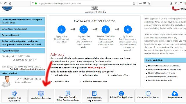 Tampilan Situs Resmi E-Visa India